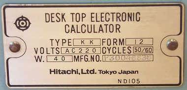 Hitachi Model/Serial Tag